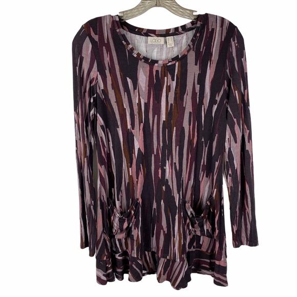 LOGO Lori Goldstein Tunic top Size XS Gray/Purple